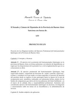 Proyecto de Ley Régimen Jurídico del Ejercicio Profesional del