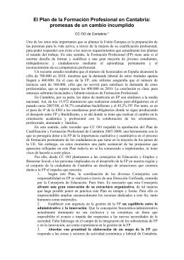 El Plan de la Formación Profesional en Cantabria: promesas de un