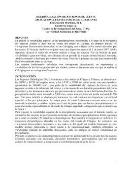 REGIONALIZACIÓN DE PATRONES DE LLUVIA