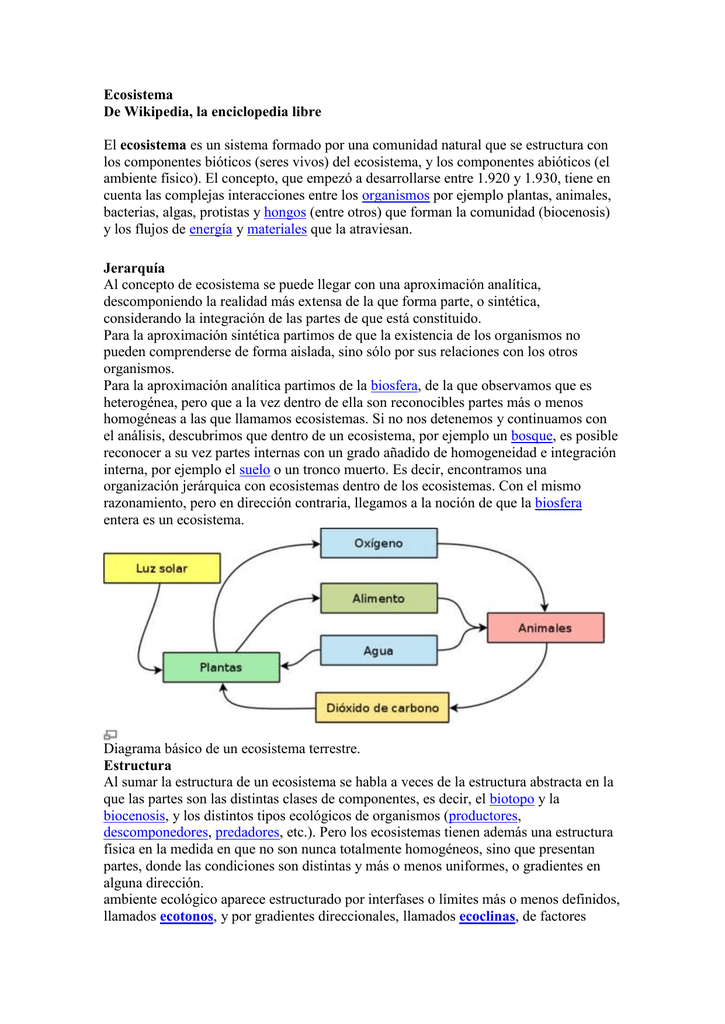 Ecosistema De Wikipedia La Enciclopedia Libre Ecosistema