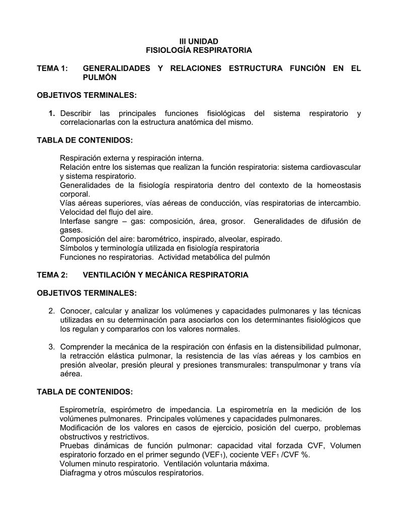 III UNIDAD FISIOLOGÍA RESPIRATORIA TEMA 1: