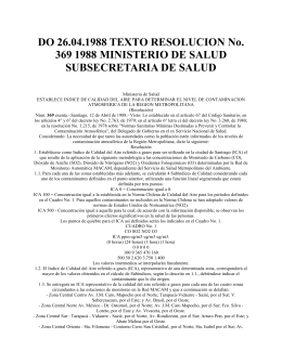 DO 26.04.1988 TEXTO RESOLUCION No. 369 1988 MINISTERIO DE SALUD