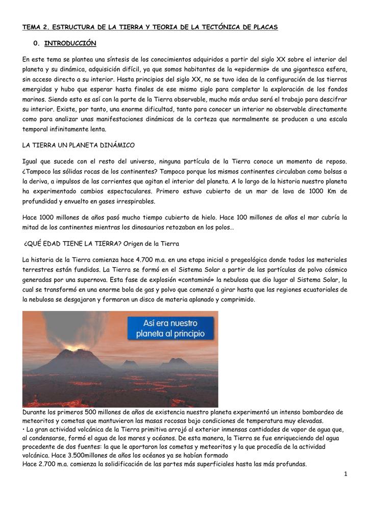 TEMA 2 .- ESTRUCTURA DE LA TIERRA Y TTP