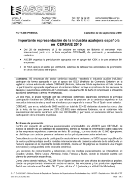 97 empresas cerámicas españolas participan en CERSAIE