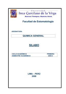 SILABO  Facultad de Estomatología QUIMICA GENERAL