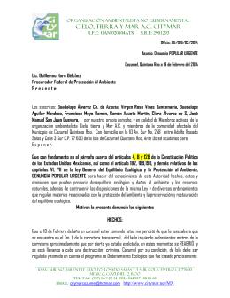 Oficio: 05/019/02/2014 Asunto: Denuncia POPULAR URGENTE