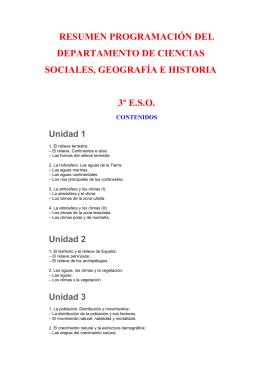 RESUMEN PROGRAMACIÓN DEL DEPARTAMENTO DE CIENCIAS SOCIALES, GEOGRAFÍA E HISTORIA