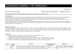 GEOGRAFÍA GENERAL Y DE VENEZUELA  Septiembre 2011 EDUCACIÓN (Mención Integral)