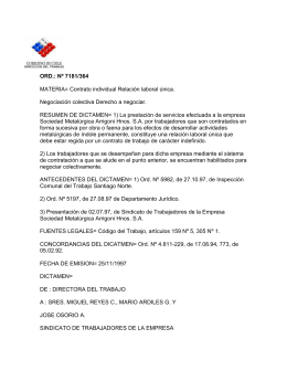 ORD. Nº 7181/364 - Dirección del Trabajo