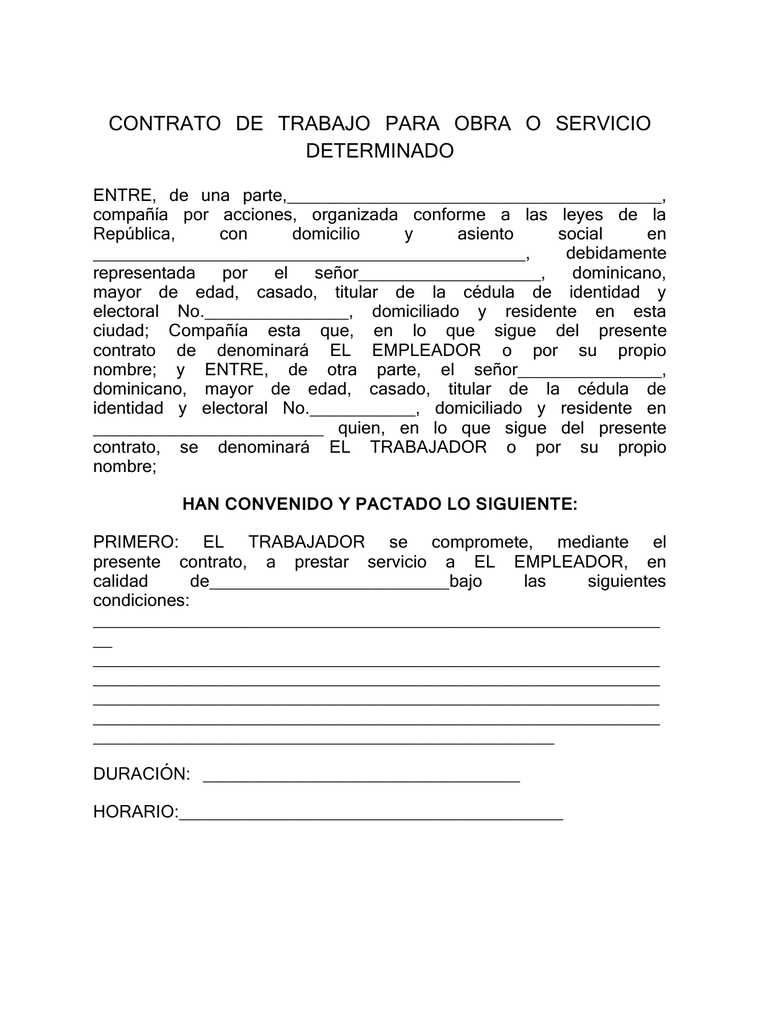 Contrato De Trabajo Para Obra O Servicio Determinado
