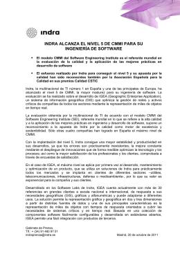 INDRA ALCANZA EL NIVEL 5 DE CMMI PARA SU 