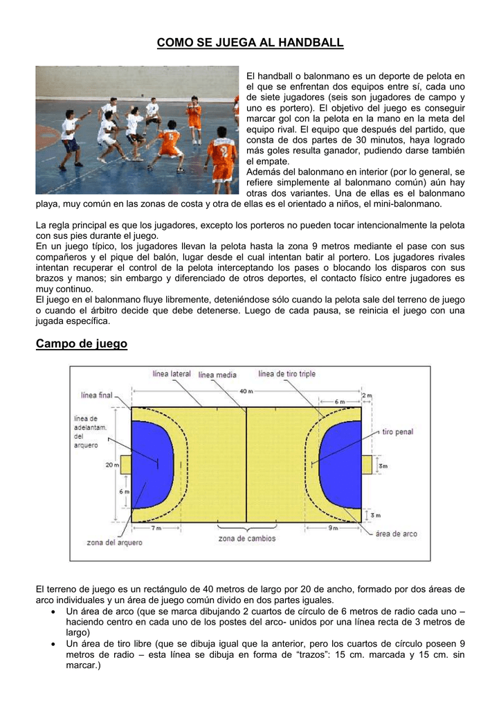 como se juega el balonmano pasos