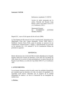 Sentencia T-652 de 2006