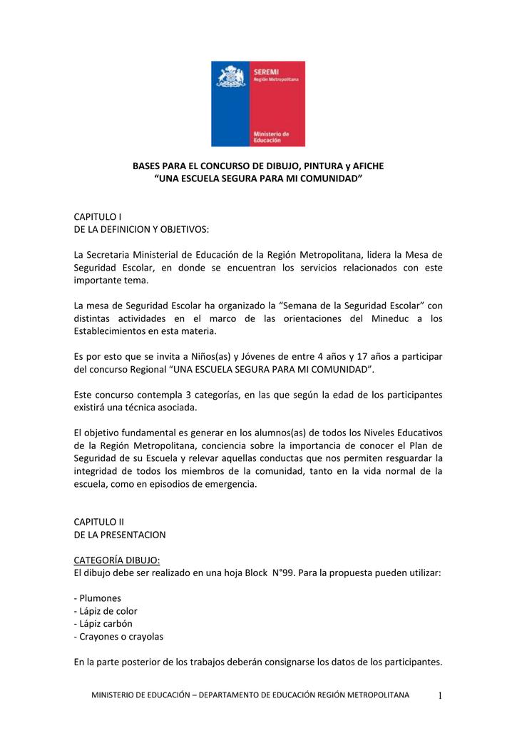 BASES PARA EL CONCURSO DE DIBUJO PINTURA y AFICHE