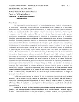 Historia del Arte V (HA) - Estudios Historicos y Sociales