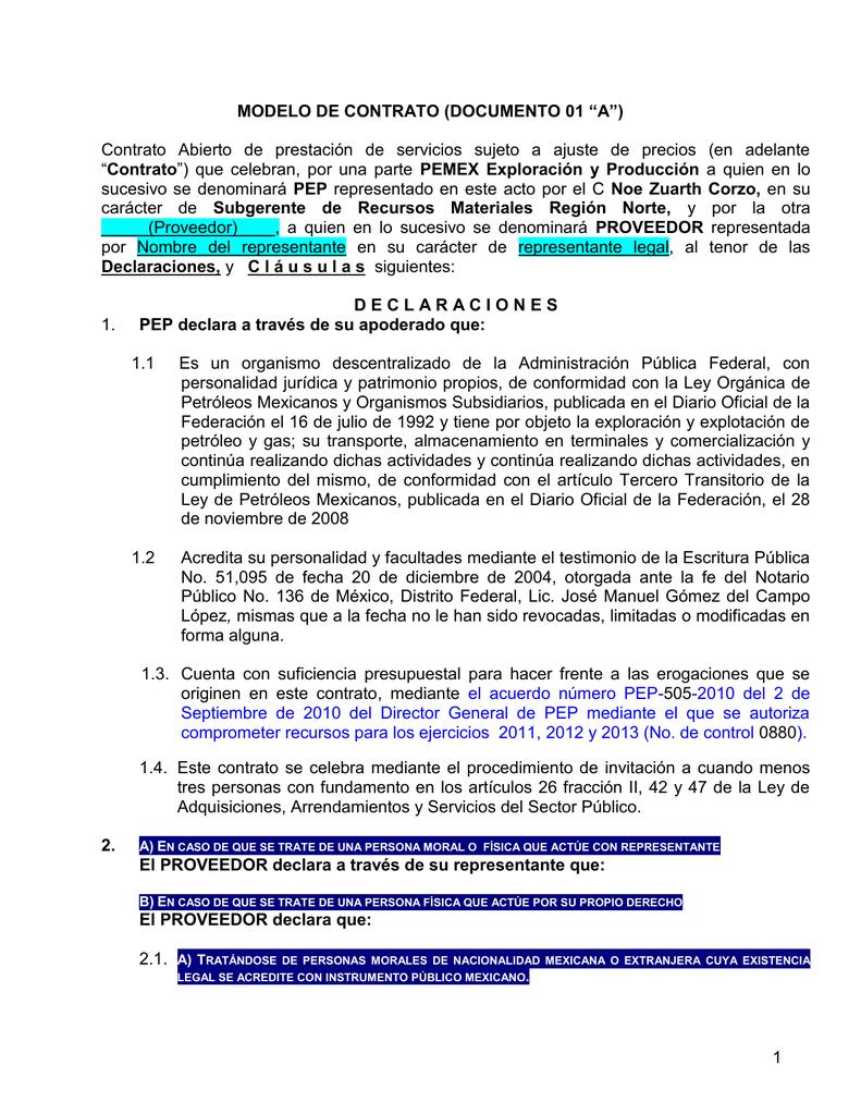 Modelo Contrato ABIERTO Prestacion Servicios SUJETO A AJUSTE
