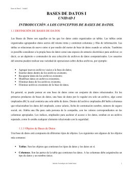 BASES DE DATOS I UNIDAD I 1.1 DEFINICIÓN DE BASES DE DATOS