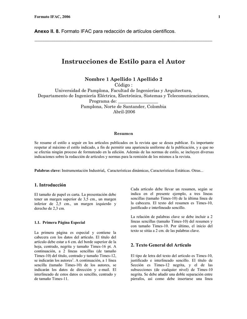 formato ifac para redacción de articulos cientificos