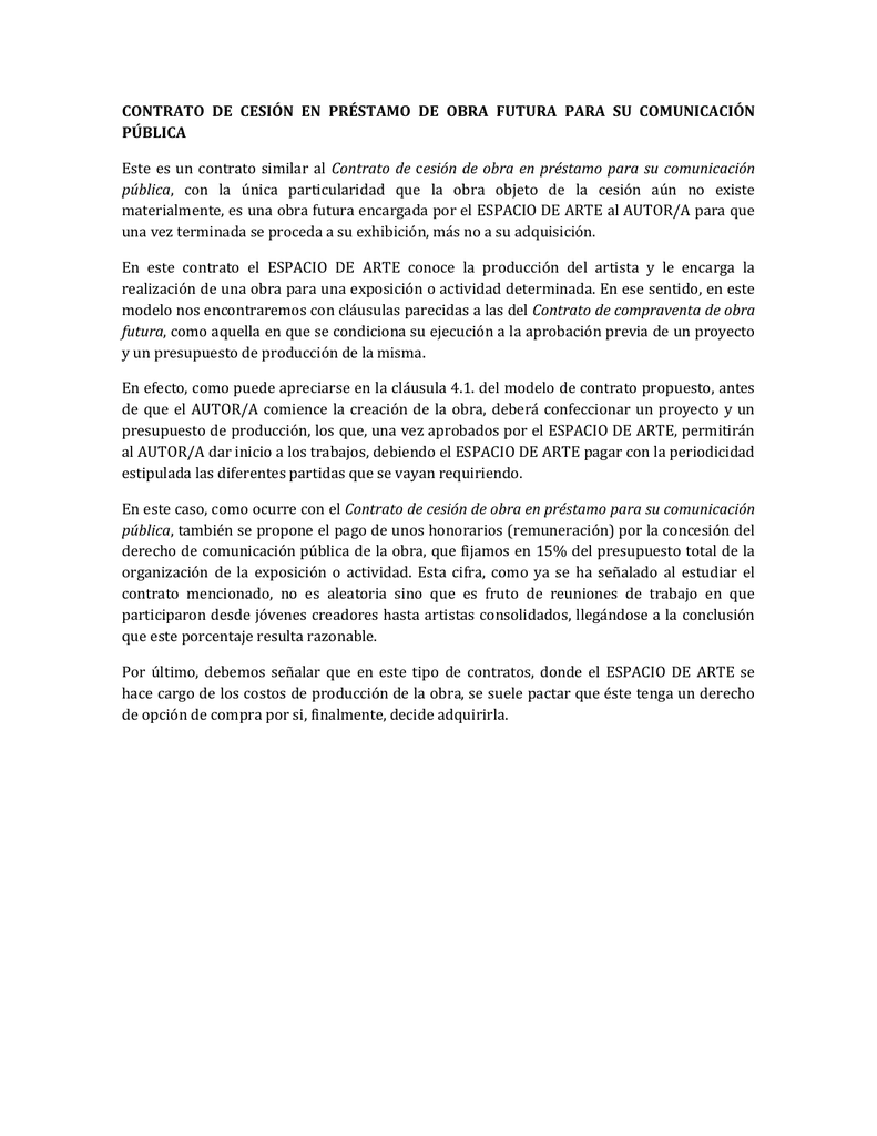 contrato de cesion en prestamo de obra futura para cm