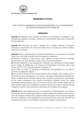HONORABLE CONCEJO DELIBERANTE ORDENANZA Nº 67/2014