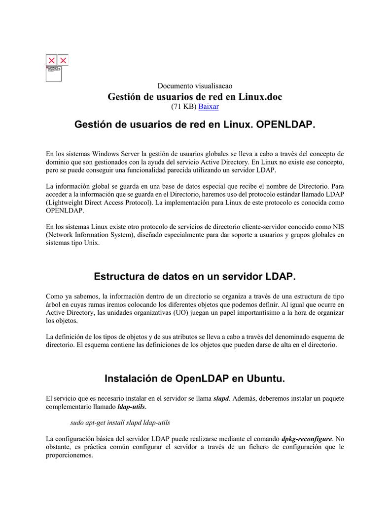 Gestión de usuarios de red en Linux - LDAP - estupendo