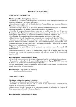 PROPUESTAS DE MEJORA ÁMBITO: DEPARTAMENTO. Máxima