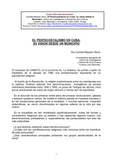 EL PENTECOSTALISMO EN CUBA: