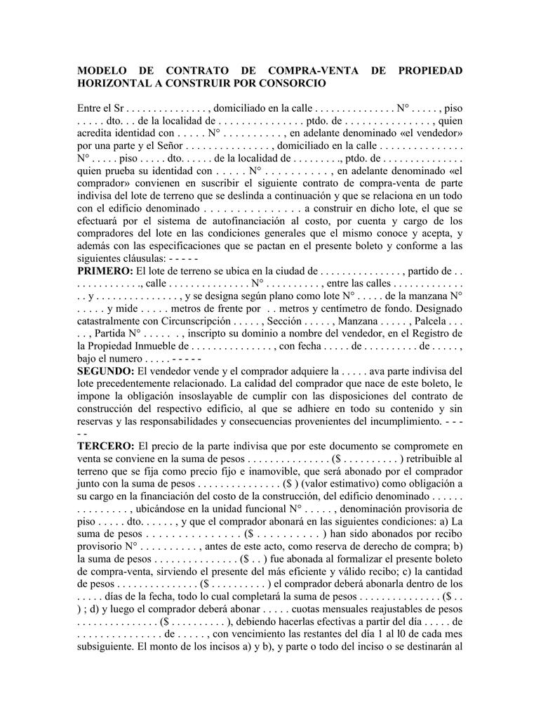 Modelo de contrato de compra venta de propiedad horizontal a for Busco piso compra