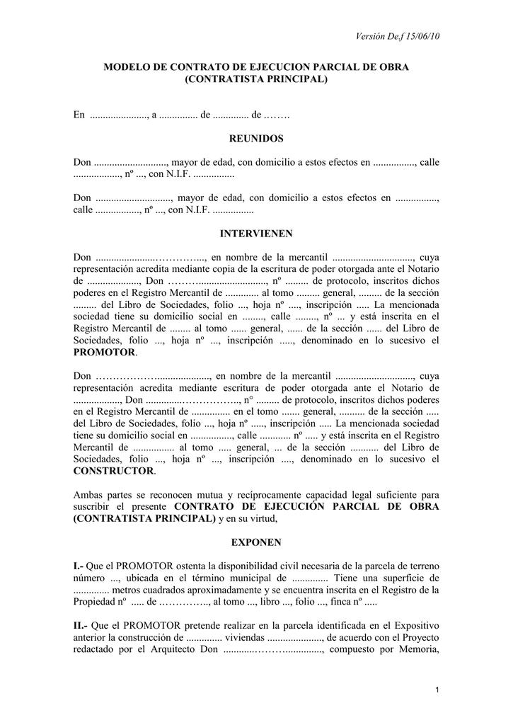 Modelo De Contrato De Ejecucion Parcial De Obra