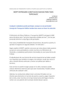 MOPT entregará 4.000 placas nuevas para taxis `especiales`