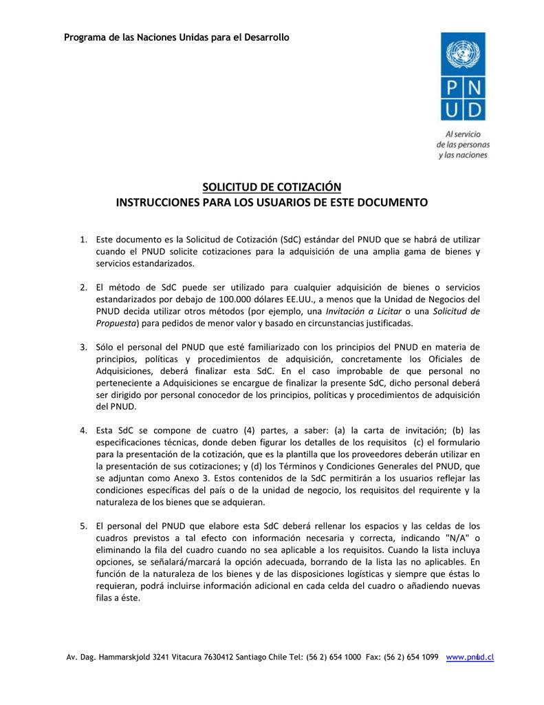 SOLICITUD DE COTIZACIÓN INSTRUCCIONES PARA LOS USUARIOS DE ESTE ...