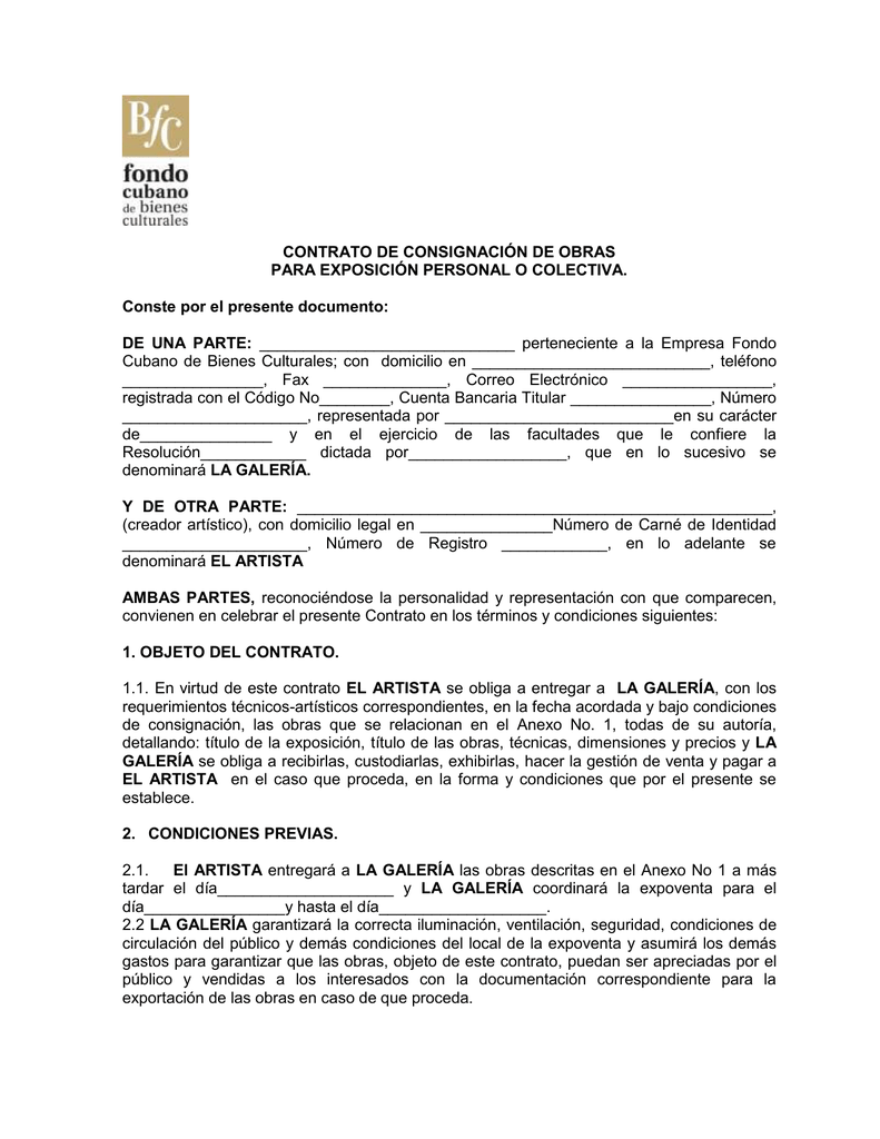 Contrato De Consignación De Obras