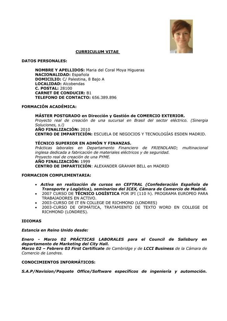 Curriculum Vitae Datos Personales Nombre Y Apellidos