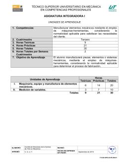 ASIGNATURA INTEGRADORA I TÉCNICO SUPERIOR UNIVERSITARIO EN MECÁNICA EN COMPETENCIAS PROFESIONALES