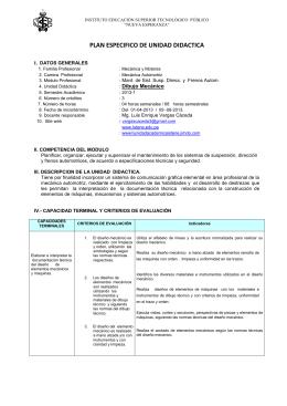 PLAN ESPECIFICO DE UNIDAD DIDACTICA  1 I.  DATOS GENERALES