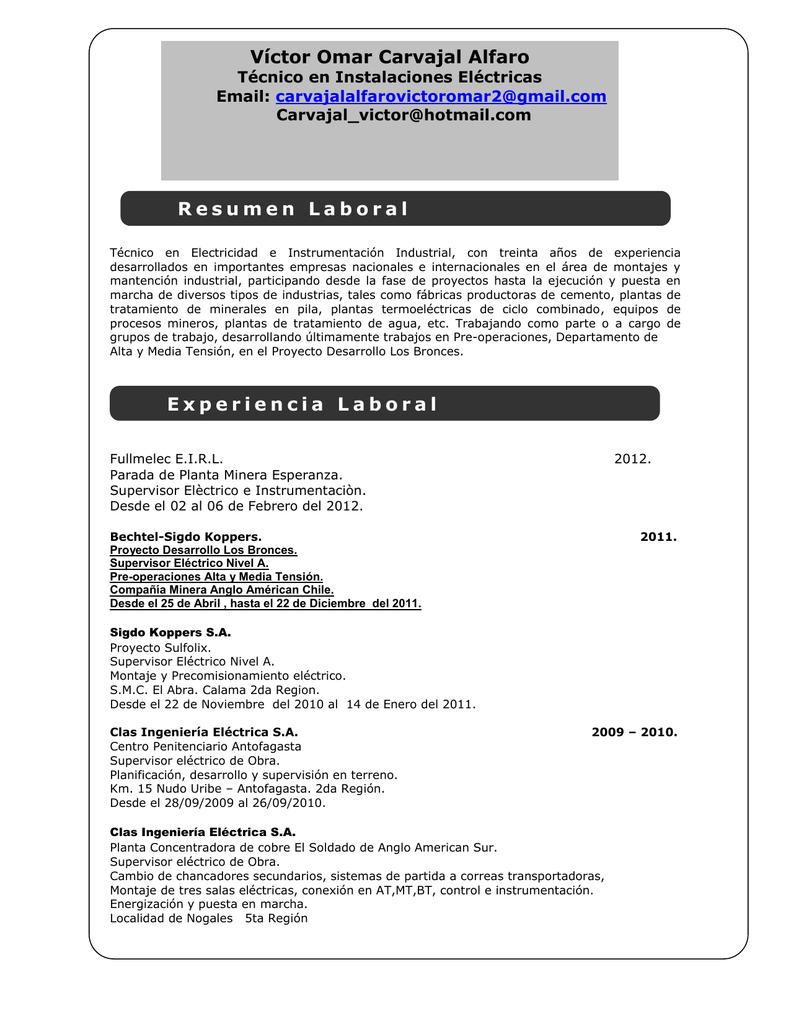 Único Muestra Curriculum Vitae Electricista Adorno - Ejemplo De ...