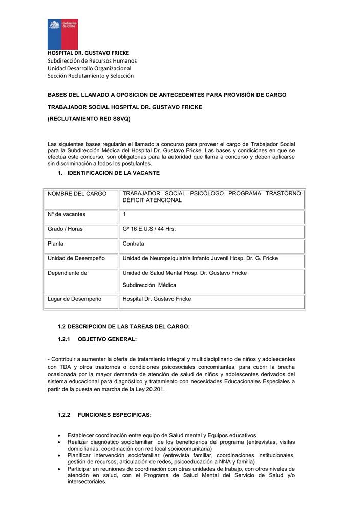 1.2.3 competencias del cargo - Hospital Dr. Gustavo Fricke