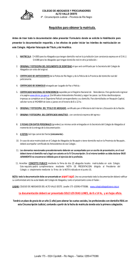 Requisitos para obtener la matricula