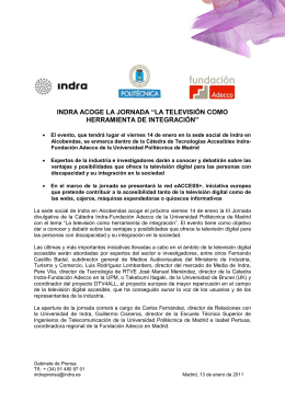 """INDRA ACOGE LA JORNADA """"LA TELEVISIÓN COMO HERRAMIENTA DE INTEGRACIÓN"""""""