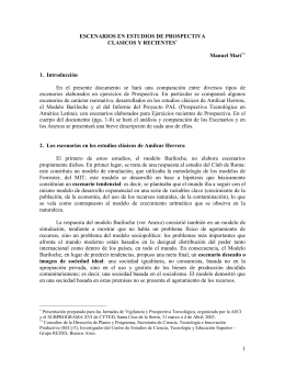 III ESCENARIOS EN ESTUDIOS DE PROSPECTIVA