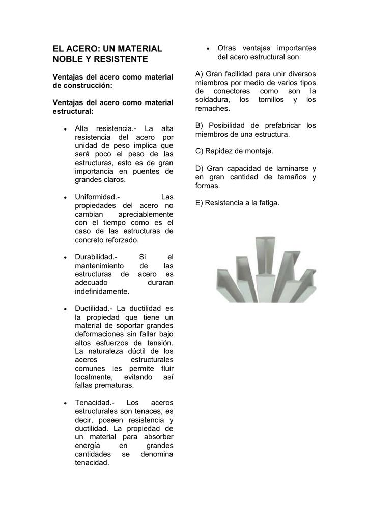 el acero: un material noble y resistente