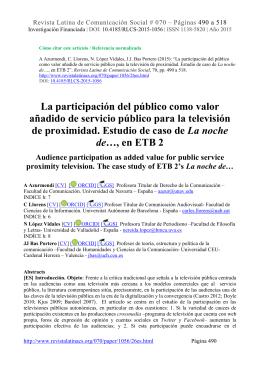 La participación del público como valor añadido de servicio público