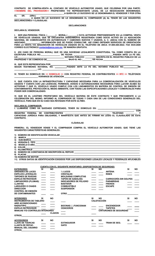 Contrato de compra venta al contado de vehiculo for Que es una clausula