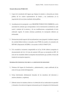 TRÁMITE REGISTRO PYME CNV