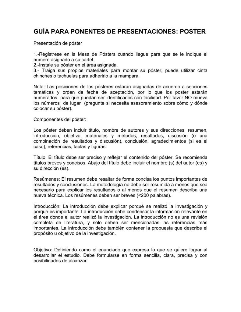GUÍA PARA PONENTES DE PRESENTACIONES POSTER