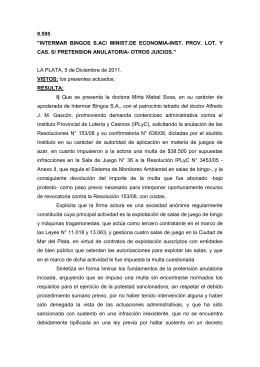 """9.595 """"INTERMAR  BINGOS  S.AC/  MINIST.DE  ECONOMIA-INST. ... CAS. S/ PRETENSION ANULATORIA- OTROS JUICIOS."""""""