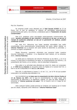 COMUNICACION DECLARACION DE SUELOS CONTAMINADOS