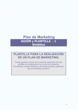 Plan de Marketing  GUIÓN y PLANTILLA  - 1 Sintética