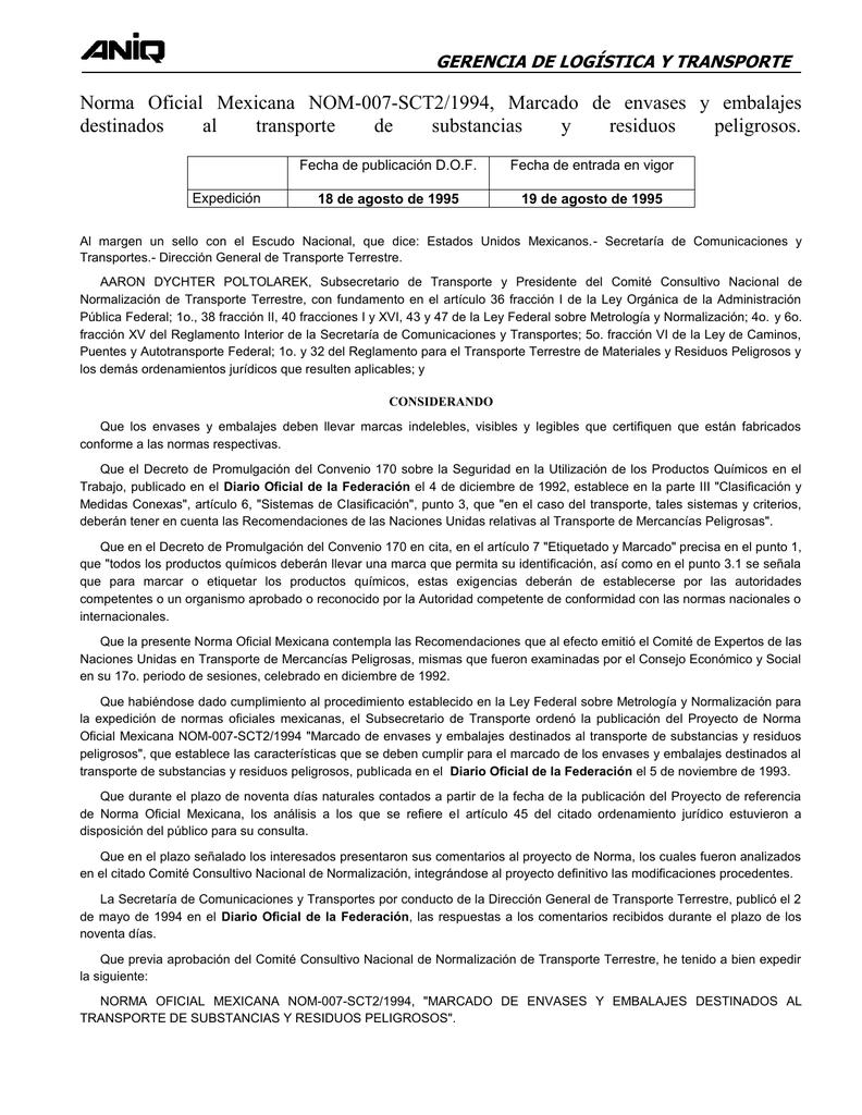 NOM-007-SCT2-199 - Reyneros Sureste SA de CV