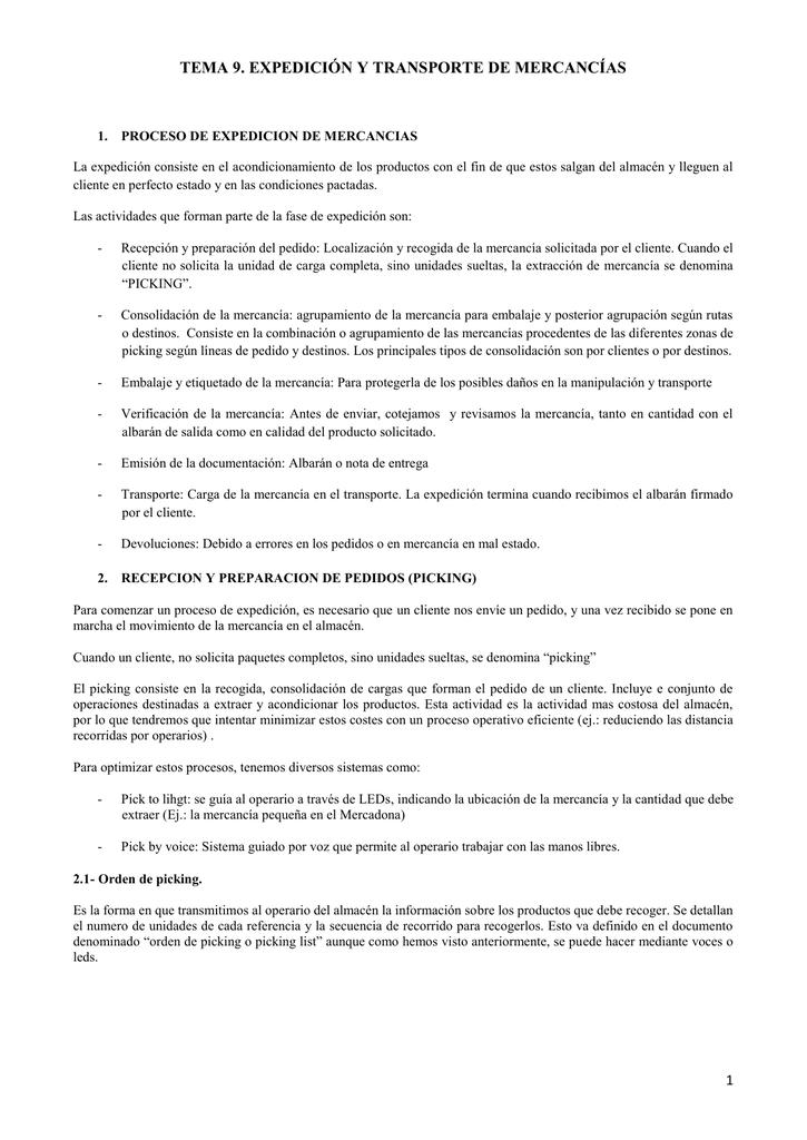 TEMA 9. EXPEDICIÓN Y TRANSPORTE DE MERCANCÍAS